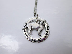 forever in my heart skinny cat necklace