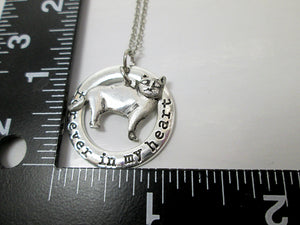 skinny cat necklace with measurement