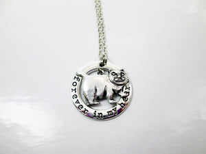 Forever in my heart chubby cat necklace