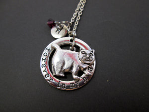 chubby cat necklace with personalization