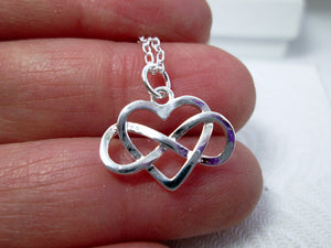 infinity love necklace close-up