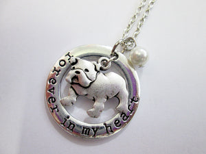 bulldog necklace with pearl