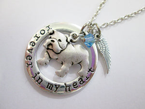 bulldog necklace with angel wings and birthstone