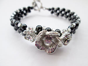 Fancy silver flower magnetic bracelet with silver beads