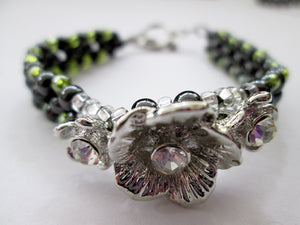 fancy silver flower magnetic bracelet with green beads