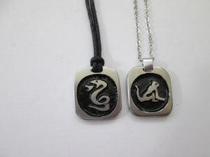 sample of cotton cord and metal chain pendant necklace