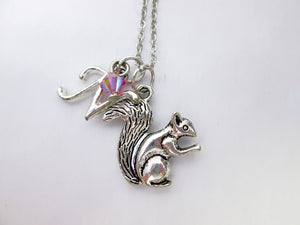 small squirrel necklace with personalization
