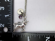 Load image into Gallery viewer, unicorn necklace with measurement