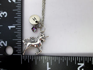 unicorn necklace with measurement