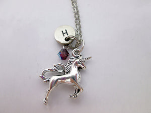 unicorn necklace with personalization