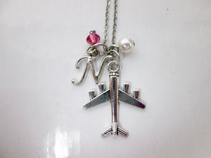 airplane necklace with personalization