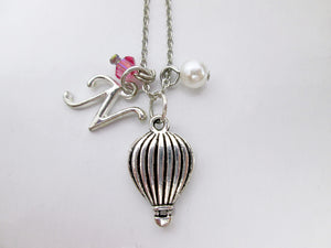 tiny dainty hot air balloon necklace