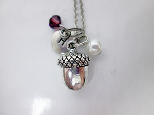 acorn necklace with personalization