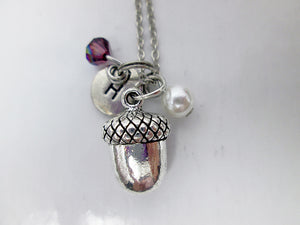 personalized acorn necklace