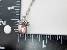 Load image into Gallery viewer, acorn necklace with measurement