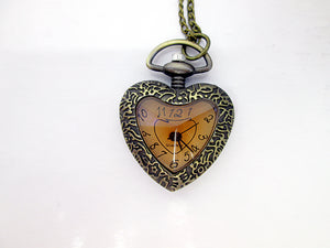 vintage style heart watch necklace