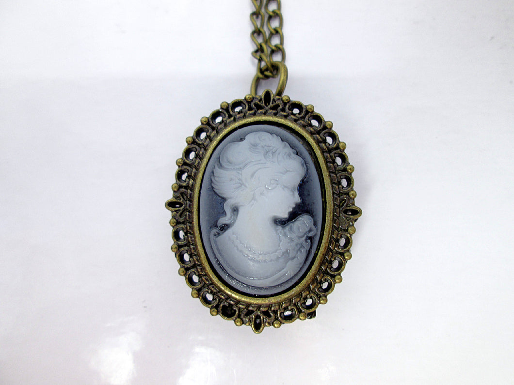 Victorian lady cameo watch necklace