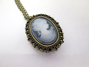 vintage style cameo lady portrait watch necklace