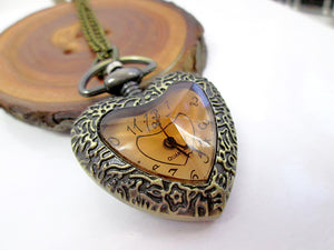 vintage inspired heart shape watch necklace