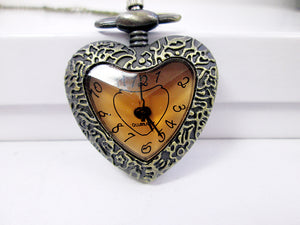 heart shape watch necklace vintage style