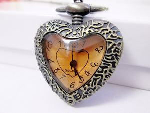 Victorian heart watch necklace