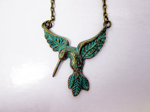verdigris patina hummingbird necklace