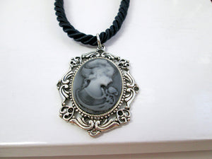 vintage style Victorian lady portrait cameo necklace