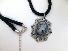 Load image into Gallery viewer, lady cameo necklace on fabric rope chain