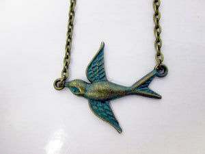 vintage style small bird necklace