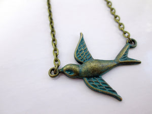 verdigris patina small bird necklace