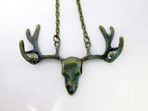 steampunk deer skull necklace
