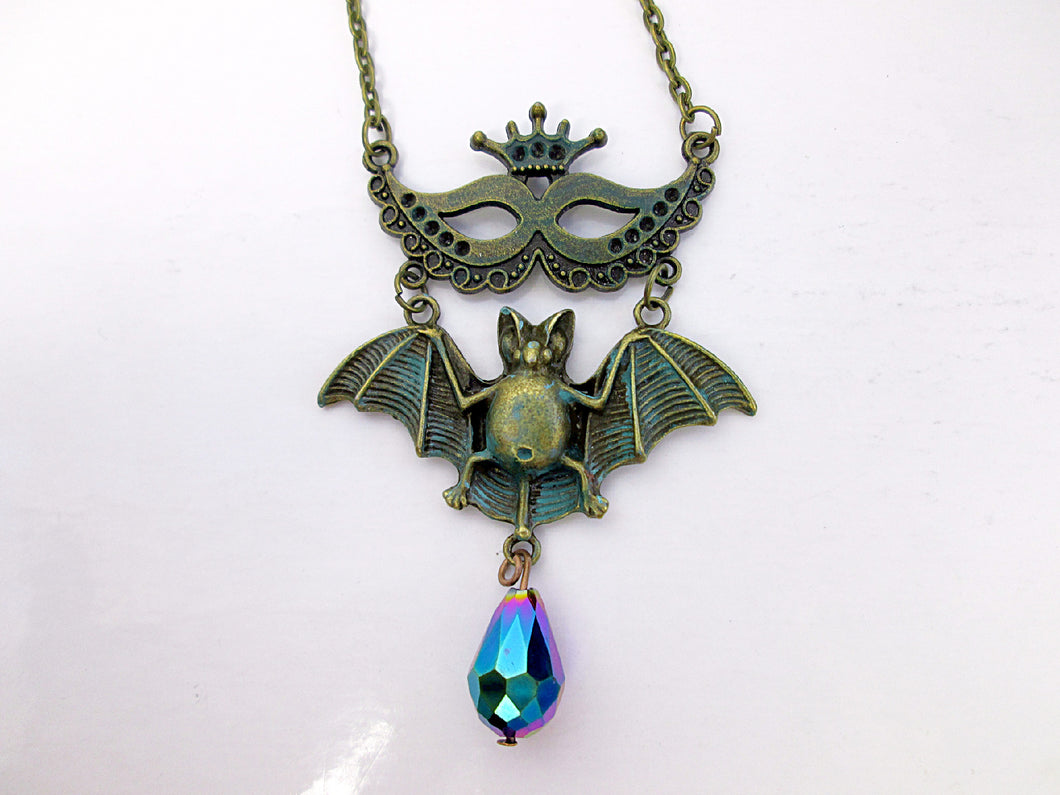 Masquerade Mask Flying Bat Necklace