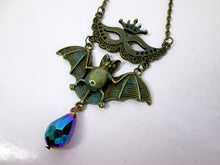 Load image into Gallery viewer, antique bronze Masquerade Mask Flying Bat Necklace
