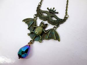 antique bronze Masquerade Mask Flying Bat Necklace