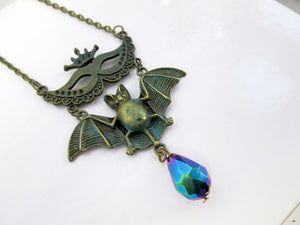 vintage style Masquerade Mask Flying Bat Necklace