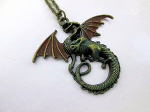antique bronze red fire dragon necklace