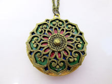 Load image into Gallery viewer, red and green mandala locket