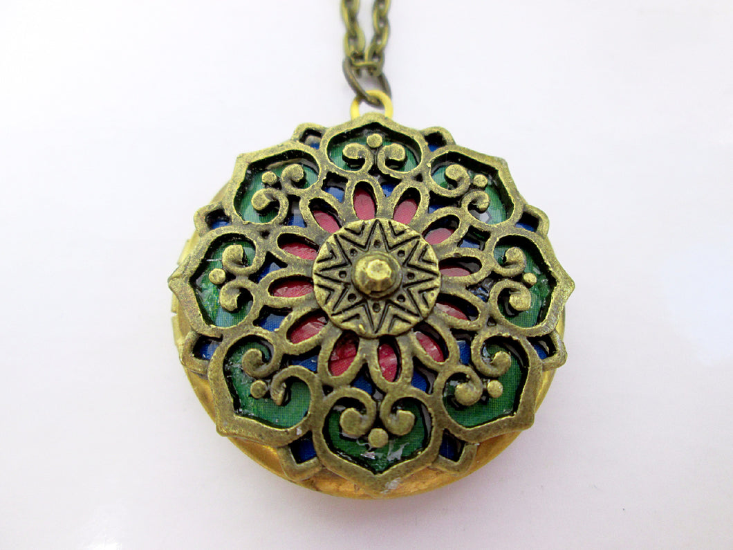 red and green mandala locket