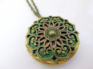 antique gold mandala locket necklace