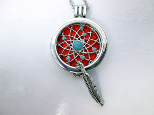 dream catcher feather locket necklace