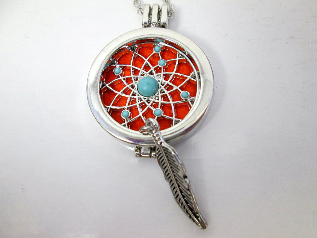 native dream catcher locket necklace