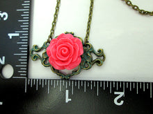 Load image into Gallery viewer, pink rose necklace with measurement