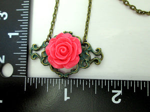 pink rose necklace with measurement