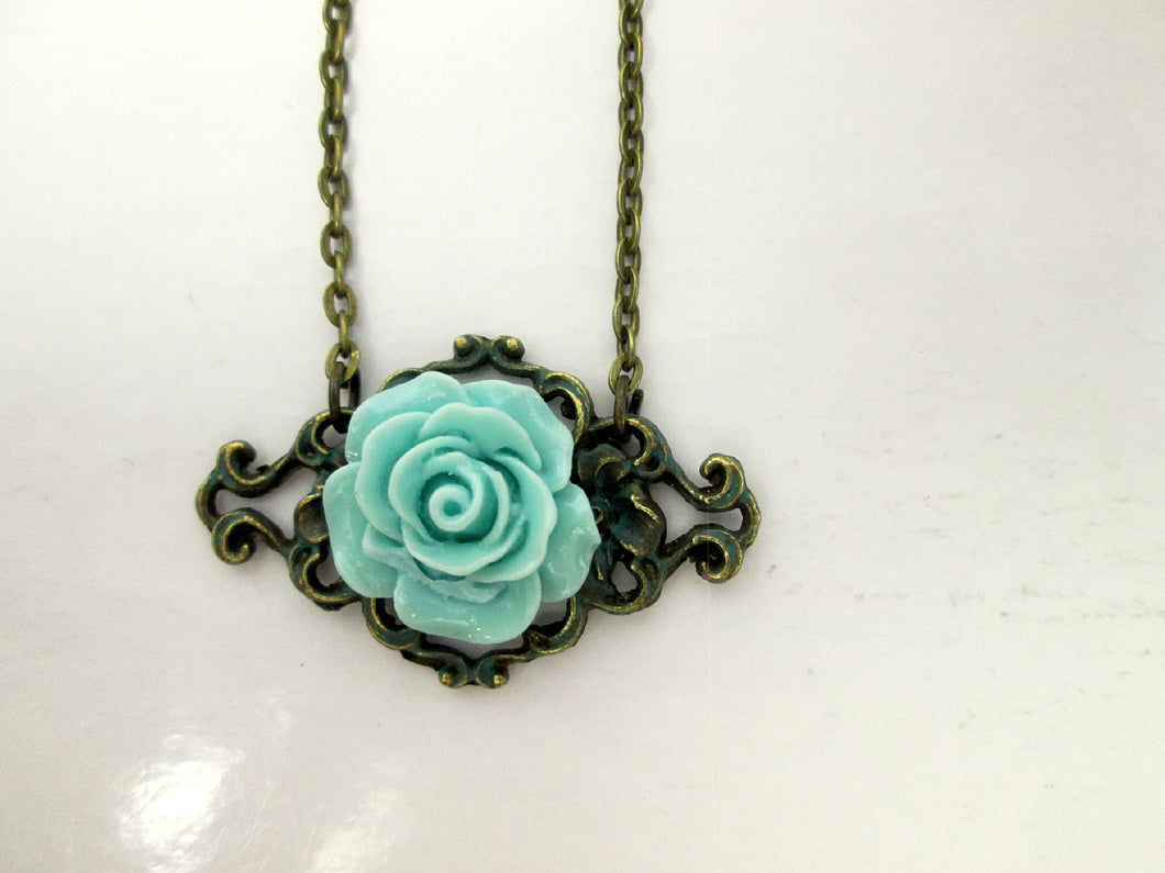 vintage inspired green rose necklace