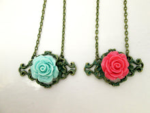 Load image into Gallery viewer, vintage inspired rose filigree pendant necklace