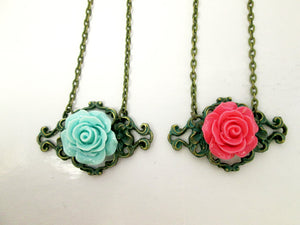 vintage inspired rose filigree pendant necklace