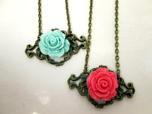 verdigris patina filigree rose necklace