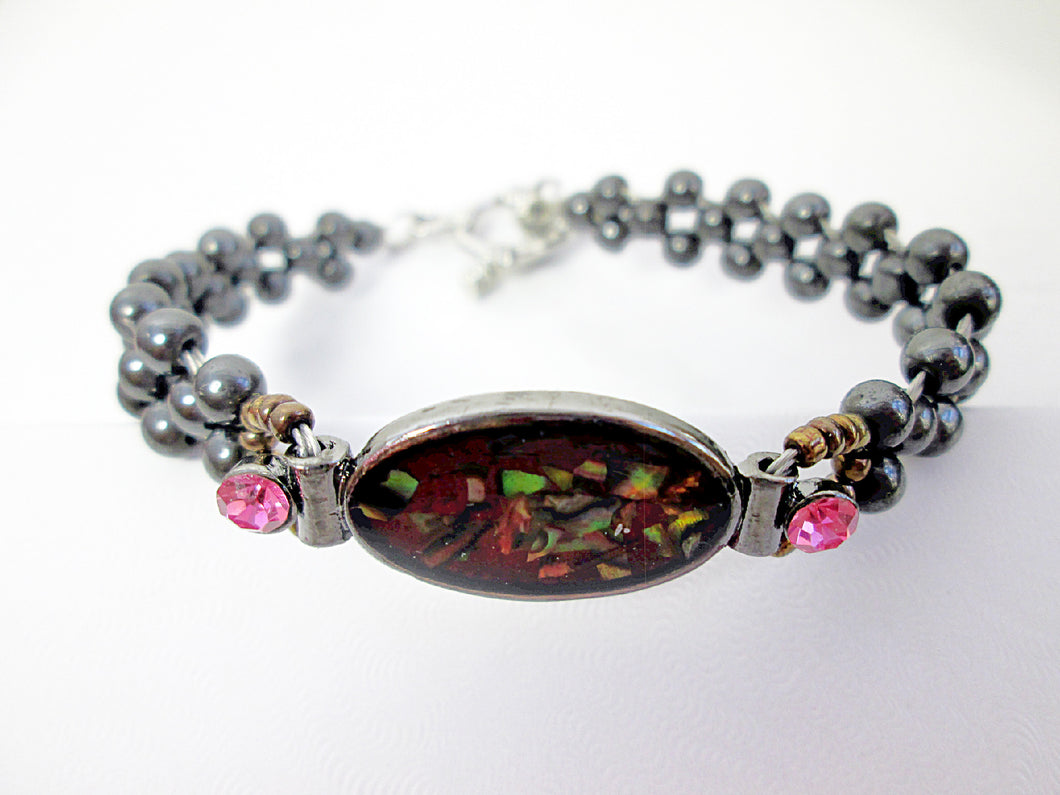 red magnetic hematite bracelet