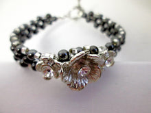 Load image into Gallery viewer, black and silver magnetic bracelet
