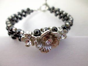 black and silver magnetic bracelet